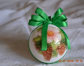 "Christmas Ball decoupage/decoration for Xmas tree-Christmas bauble ornamented hand-decorated ""Flora 2"""