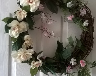 Spring Wreath, Summer Wreath, Grapevine Wreath, Outdoor Wreath Rose Wreath