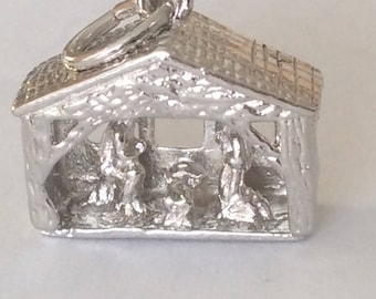 Sterling silver Christ is born in Bethlehem Christmas charm vintage #613 S