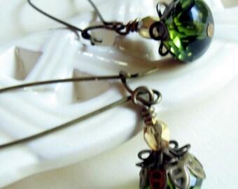 olive green dangle earrings, drop earrings, golden earrings, cottage chic, boho chic, bohemian earrings, boho jewelry, festival earrings