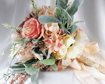 Light Peach Blush, Sage Green, Cream, Pale Pink and Mauve Lacy Wild Flower Cascading Bouquet with Lace Accents