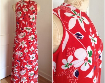 Sixties vintage red floral maxi dress // medium 8 10 tropical sleeveless 1960
