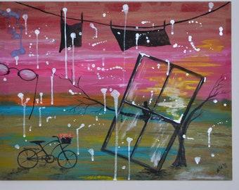 silver rain, window, bike, abstract, glasses
