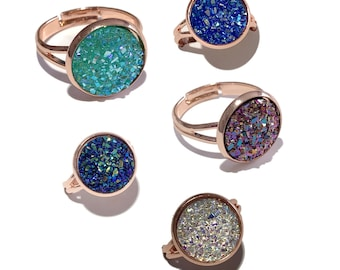 Rose Gold Druzy Ring - 12mm Druzy Cabochon - Choice of 8 Colors - Pinky Ring, Rose Gold Ring