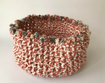 Cotton basket made of crochet
