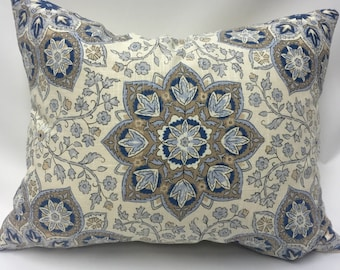 Medallion Rectangular Pillow Cover in Blue from Jaclyn Smith Home Collection with Trend Fabrics