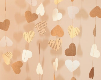 Brown White Old Book pages hearts garland / Heart paper garland/ Valentines heart garland / Brown hearts paper garland