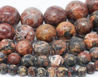 "Leopard Skin Jasper Beads Natural Gemstone Round Loose - 4mm 6mm 8mm 10mm 12mm - 15.5"" Strand"