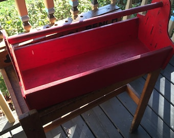 Old tool box, carpenters toolbox, wood, solid, usable storage, planter, kitchen supplies, cleaning supplies