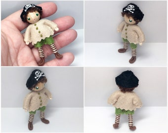 Pirate Bendy Doll by Princess Nimble-Thimble - Waldorf Felt Bendable- Adventure- Nature Table Dollhouse- Miniature Small Pirate Doll