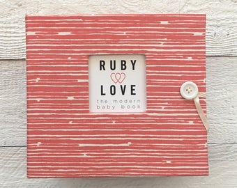 BABY BOOK | Coral Woodsy Stripe Album