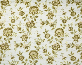 Retro Wallpaper by the Yard 70s Vintage Wallpaper – 1970s Green Floral Chintz on White