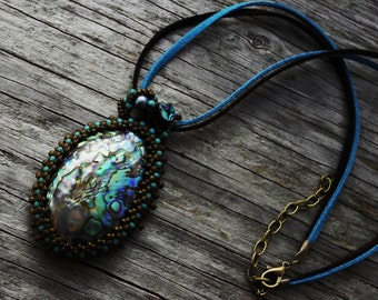 Beaded Cabochon Beaded Bale Necklace - Magic Sea Shell - Bead Weaving - Statement Necklace - Large Abalone/Paua Pendant - Suede Rope - BOHO