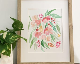 Cascading peach watercolor flowers | Original watercolor painting | One of a kind | Only one available | 8x10
