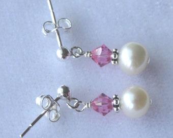 Swarovski Crystal and Freshwater Pearl Post Earrings, Flower Girl Earrings, Junior Bridesmaid Earrings,First Communion Earrings
