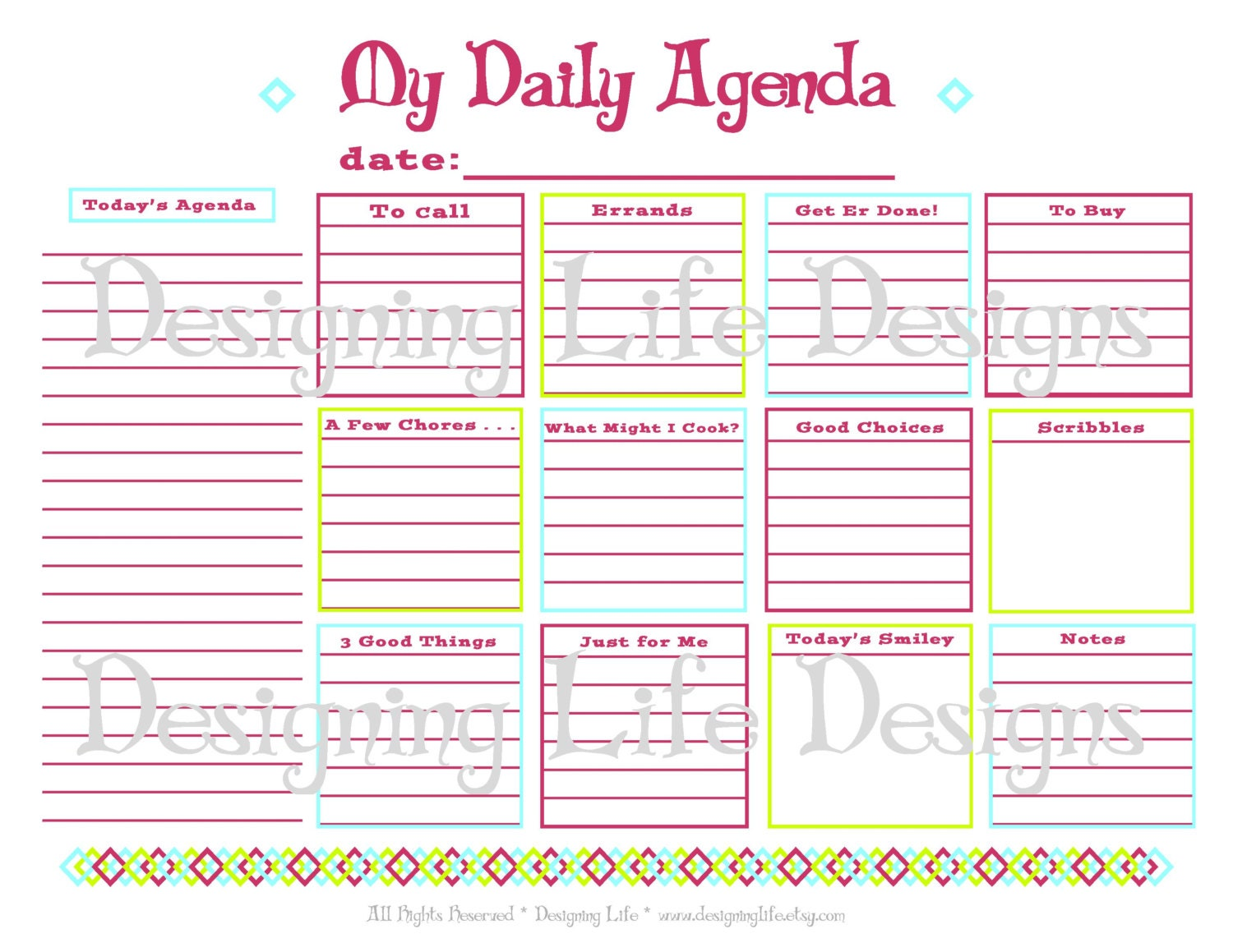 daily agenda printable daily planner page pdf to do list. Black Bedroom Furniture Sets. Home Design Ideas