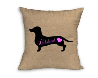 "Pink Dachshund Pillow Cover, Pillow Cover, Dachshund Pillow Cover, 18"" x 18"" Zip Pillow Cover"