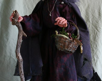 EDWINA GATHERING GOODIES  witch art doll original sculpted by Sue Menz