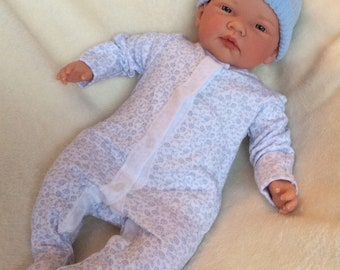 "Reborn Blue Eyes 18"" Baby Boy Doll with Magnetic Dummy Adorable Child Friendly"