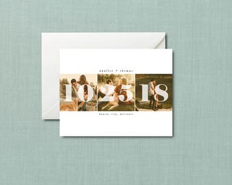 Bold Date Trio Wedding Save the Date // 4.25x5.5 Card // DIY PRINTABLE // Modern Wedding, Photo Save the Date, Bold Save the Date