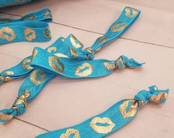 Teal Elastic Bands - Gold Lips - Younique Lips Kiss Hair Tie gift party favor lipsense senegence