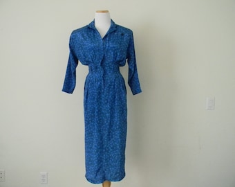 FREE usa SHIPPING vintage 1980's Secretary dress blue polyester dress peter pan collar slit in the back shoulder pads size 3