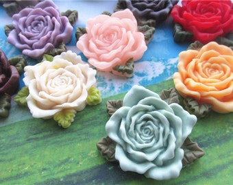 10pcs 42mm assorted Large resin flower cabochon/cameos/cabs