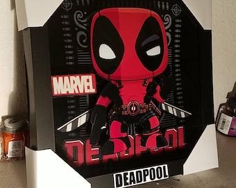Funko pop deadpool 3d wall art shadow box