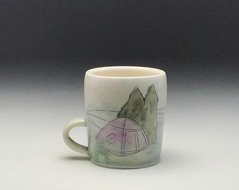 Handmade coffee mug, porcelain tea cup, tent in the woods, forest camping tree, large coffee cup, ceramic mug, woodland scene, porcelain mug