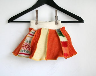 MEDIUM skirtie - wool skirt and cloth diaper cover - patchwork crazy skirty - wool soaker and skirt - baby skirt - orange