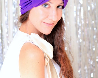 Turban with Bow - Womens Purple Turban Headwrap - Fashion Hair Covering - Full Turban in Jersey Knit - Lots of Colors