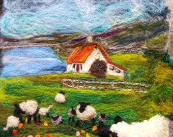"""Custom Order for Whitney   -   Needlefelt  'painting'/picture - 100% Recycled wool, eco felting  Mayo sheep, 12"""" x 10"""" approx"""