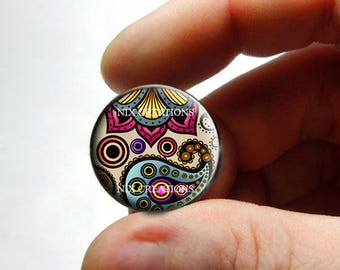 Glass Cabochon - Art Deco Floral Design 12 - for Jewelry and Pendant Making
