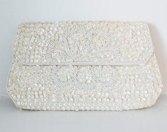Vintage Sequin Clutch Off White