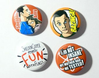 The Big bang theory set of 4 button pins, Sheldom Cooper, Amy and FUN with flags pinback. Original illustration design