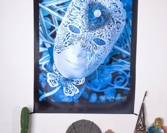 The Dreamer Light Wizard Artwork Wall Hanging Fabric Print Sacred Geometry Spiritual Art Visionary Shamanic Photograph Banner Tapestry