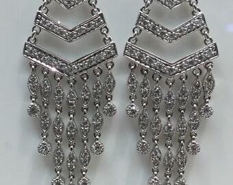 Diamond Chandelier Earrings in 18K White Gold