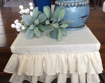 Natural Muslin Table Runner, Ruffled Table Cover, Shabby Chic Wedding Centerpiece