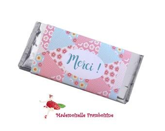 Customizable set of 2 chocolate bar, guest gift packaging, wedding, birthday, baptism, communion