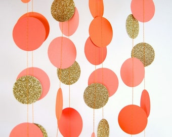 Paper Garland in Orange, Coral, Tangerine and Gold, Double-Sided, Bridal Shower, Baby Shower, Party Decorations, Birthday Decoration