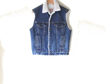 80's Levis Vintage Cotton 'Shearling' Lined Trucker Style Battle Vest