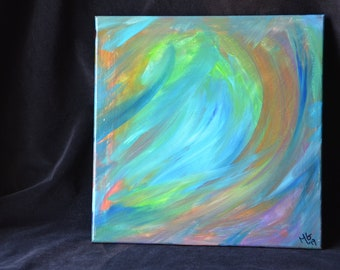 Tidal Wave / Abstract - 12x12 acrylic on canvas painting / ocean