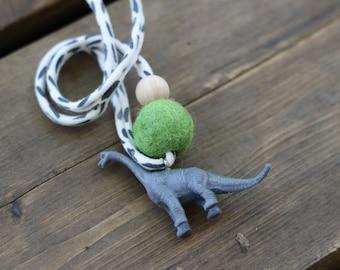 Gray Dinosaur 2 - Children's Felt Ball Dino Necklace