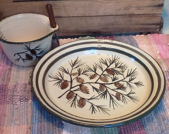 Handmade ceramic platter and cheese bowl - large pottery plate - pottery party platter - Pottery serving plate - in pinecone design - 1705