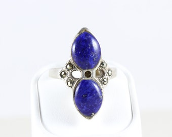 Sterling Silver Lapis Lazuli and Marcasite Ring Size 8