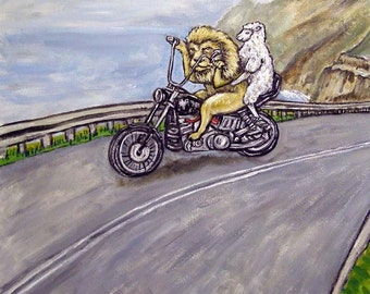 The lion and the Lamb Riding a Motorcycle Animal Art Tile