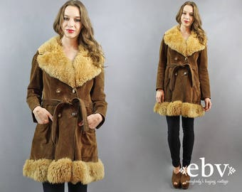 Penny Lane Coat 1970s Coat 70s Coat Hippie Coat Shearling Coat 70s Leather Coat Almost Famous Coat Hippy Coat Boho Coat Brown Coat L