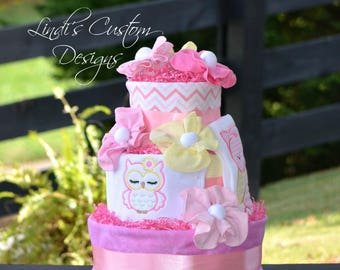 Girl Owl Diaper Cake, Owl Baby Shower Table Centerpiece, Unique Baby Gift, Pink Yellow Diaper Cake, Table Centerpiece, Diaper Cake Gift