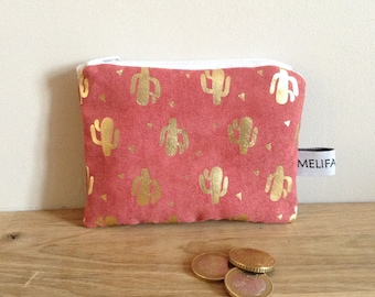 Coin purse / wallet, Cactus - pink and gold