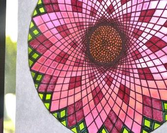Cosmos - Harmonious Universe - Flower Mandala Coloring Page - Instant Download PDF